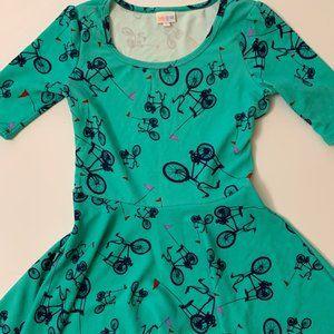 Unicorn! Bicycle print Amelia dress